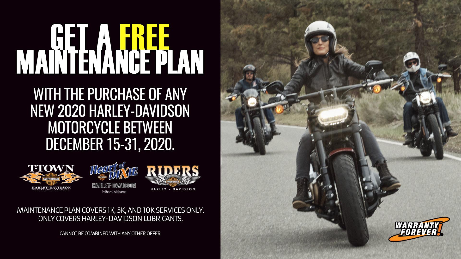 Free Maintenance Plan Offer at Heart of Dixie Harley-Davidson, Riders Harley-Davidson, & T-Town Harley-Davidson