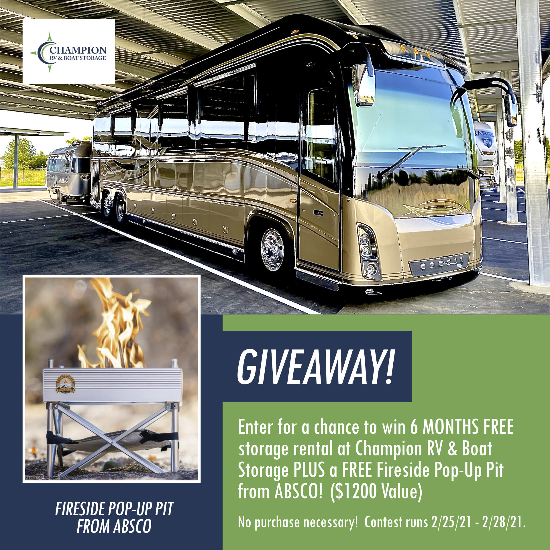 FREE RV Storage Rental at Champion RV in Calera / Bessemer, Alabama & a FREE Fire Pit from ABSCO